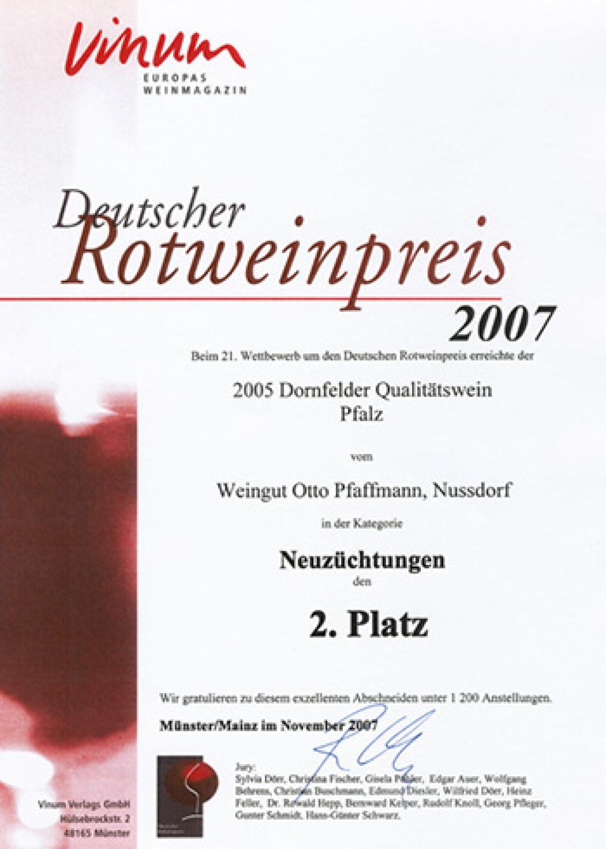 Deutscher Rotweinpreis für den Dornfelder QbA 2005